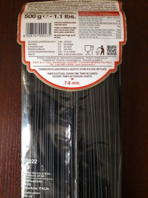 Макароны-Спагетти Cara Nonna с чернилами каракатицы 500г Италия