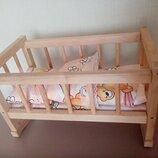 Кроватка с бельём для Беби Борнов 2 в 1. Люлька и стационар.