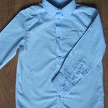 Голубая рубашка длинный рукав 6-7 лет F&F