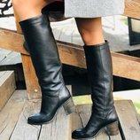 Демисезонные кажаные сапоги женские на каблуке Вт778098