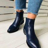 Синие демисезонные женские кожаные ботинки Вт4410228