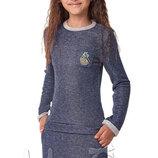 Красивое трикотажное платье с длинным рукавом для девочки Тм Mevis 2891 размеры 122- 146