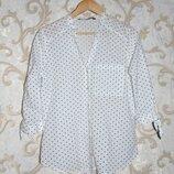 Стильна белая рубашка в горошек Zara,Зара, M,10,42,46 Состояние новой