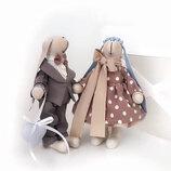Пара заек тильда семья оригинальный подарок на свадьбу коестмны юбилей, игрушка