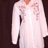 Шикарная удлинённая рубашка с вышивкой - M - L