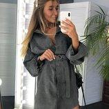 Платье - рубашка серое 42 - 46 вельвет