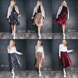 Бархатные юбки 2 длинны в 3-х расцветках