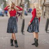 Укороченая бархатная юбка 60см в графитово- серебряном цвете