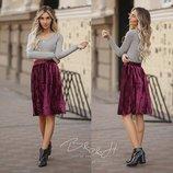 Укороченая бархатная юбка 60см в Марсаловом цвете
