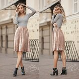 Укороченая бархатная юбка 60см в Золото- Бежевом цвете