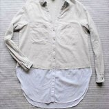 Рубашка блуза двойная меланж белая бежевая серая купить цена