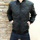 Мужская куртка стеганая Rhombus black черная, весна-осень
