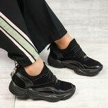 Кроссовки DM, натуральная замша и кожа, черные