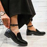 Туфли с ремешком, натуральный лак и замша,черные