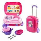 Игровой набор с посудой Технок Кухня в чемодане 2 в 1 Розовая 6061АА