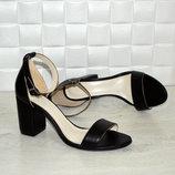Босоножки на устойчивом каблуке натур кожа,натур замша черные 36-43р все цвета индивидуальный пошив