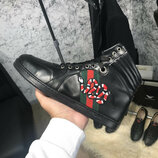 Мужские ботинки Gucci High Top Snake Embroidered Sneaker Black