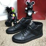Мужские ботинки Gucci Signature High Top Black черные утепленные