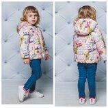 Курточка для девочки демисизонная утеплитель - силикон с мишками
