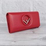 Кошелек кожаный женский на кнопке красный Fendi 3797