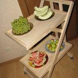 Сервировочный деревянный столик на колесиках
