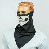 Платок скелет со светящимся принтом 0353 полиэстер 3 цвета