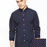 Стильная приталенная,рубашка в горох,от h&m