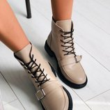 Демисезонные бежевые женские кожаные ботинки Вт7733728Д
