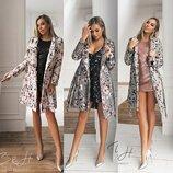 Кашемировые Деми пальта в принт Цветы в 3&х расцветках