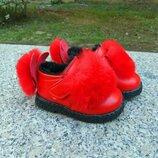 Стильные удобные яркие ботиночки на меху с натуральным мехом