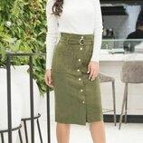 Женская замшевая юбка карандаш прямого приаленного силуэта скл.1 арт.58131