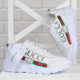 Кроссовки кожаные Gucci style женские белые на платформе