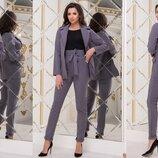 Женский брючный классический костюм пиджак брюки женские классические брючные костюмы пиджаки серый