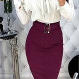 Женская стрейчевая юбка карандаш три цвета марсал хаки черный скл.1 арт. 58116