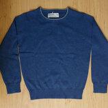 Однотонный тонкий вязаный свитер для мальчика