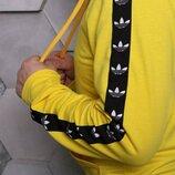 Худи Adidas желтое с черным лампасом, толстовка унисекс