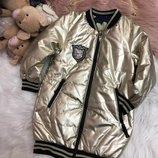 Стильная двухсторонняя куртка-бомбер для девочек, р.110-122, фабричный Китай