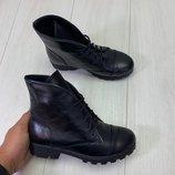 Демисезонные ботинки, натуральная кожа и замш, черные и бордовые. 36-41