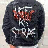 Стильная мужская джинсовка с принтом s-m-l-xl