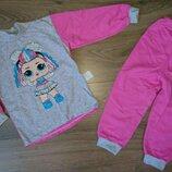 Пижама Пижамка теплая с начесом на баечке с куколкой Лол, начес хлопок 92-98-104-110-116-122-128-134
