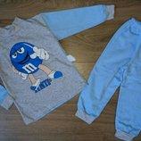 Пижама Пижамка теплая с начесом на баечке с манжетами, начес хлопок 92-98-104-110-116-122-128-134