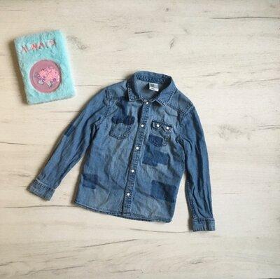 джинсовая рубашка для девочки 6-7лет H&M, джинсова рубашка сорочка для дівчинки 6/7 років. Фірма H&M