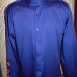 Деловая стильная фиолетовая нарядная фирменная рубашка сорочка бренд Dressman.с-м