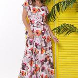 2 цвета Длинное летнее платье с ярким цветочным принтом m-1831 оранжевый и фиолетовый