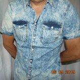 Стильная фирменная рубашка шведка сорочка джинс варенка бренд Piazza Italia.л .