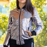 Женская куртка цвет серебро на холлофайбере манжет рибана скл.1 арт.58211