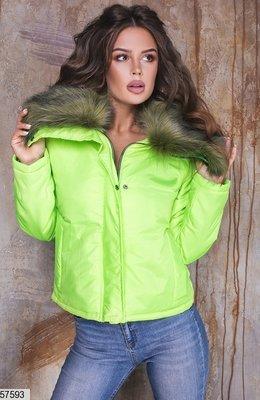 Женская теплая куртка плащевка на синтепоне с капюшоном скл.1 арт.57593
