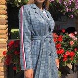Женское замшевое пальто на подкладке в клетку с лампасами хит сезона скл.1 арт. 57644