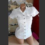 Красивая белая рубашка, стрейч-коттон