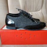 Clarks кожаные туфли на шнурке - оксфорды, размер 35,5. Оригинал. Б/у, в идеале